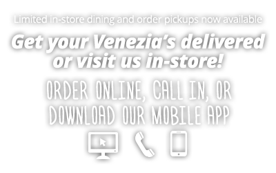 Dine in service now open. Order by phone, online, or mobile app for pickup or delivery.